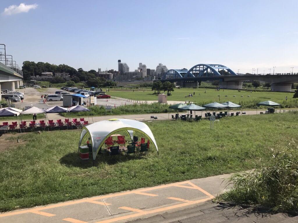 丸子橋でバーベキュー