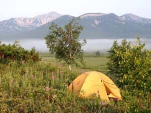 テントを張ってバーベキュー